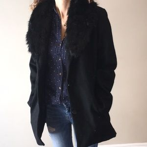 Black jacket with faux fur